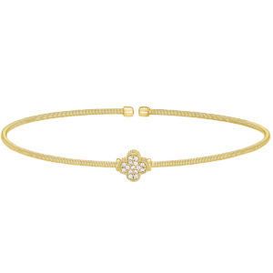 Gold Finish Sterling Silver Cable Cuff Bracelet with Simulated Diamond Clover Design Neustaedter's Fine Jewelry in St. Louis is now offering