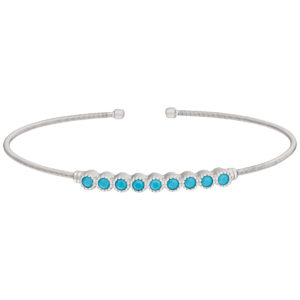Rhodium Finish Sterling Neustaedter's Fine Jewelry in St. Louis is now offering Silver Cable Cuff Bracelet with Beaded Bezel Set Simulated Turquoise