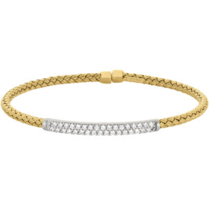 Neustaedter's Fine Jewelry in St. Louis is now offering Gold Finish Sterling Silver Basketweave Cuff Bracelet with Rhodium Finish Simulated Diamonds