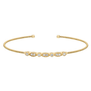 Neustaedter's Fine Jewelry in St. Louis is now offering Gold Finish Sterling Silver Cable Cuff Bracelet with Simulated Diamond Marquis & Round Design