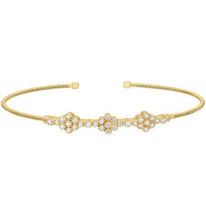 Neustaedter's Fine Jewelry in St. Louis is now offering Gold Finish Sterling Silver Cable Cuff Bracelet with Three Clusters of Simulated Diamonds
