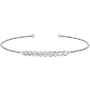 Neustaedter's Fine Jewelry in St. Louis is now offering Rhodium Finish Sterling Silver Cable Cuff Bracelet with Beaded Bezel Set Simulated Diamonds