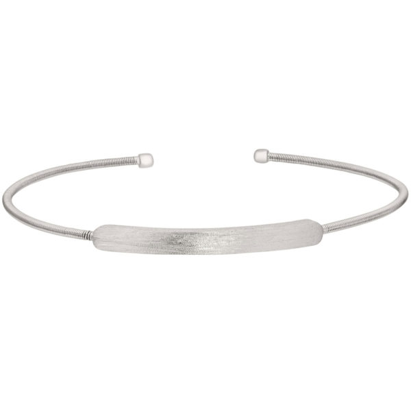 Neustaedter's Fine Jewelry in St. Louis is now offering Rhodium Finish Sterling Silver Cable Cuff Bracelet with Name Plate