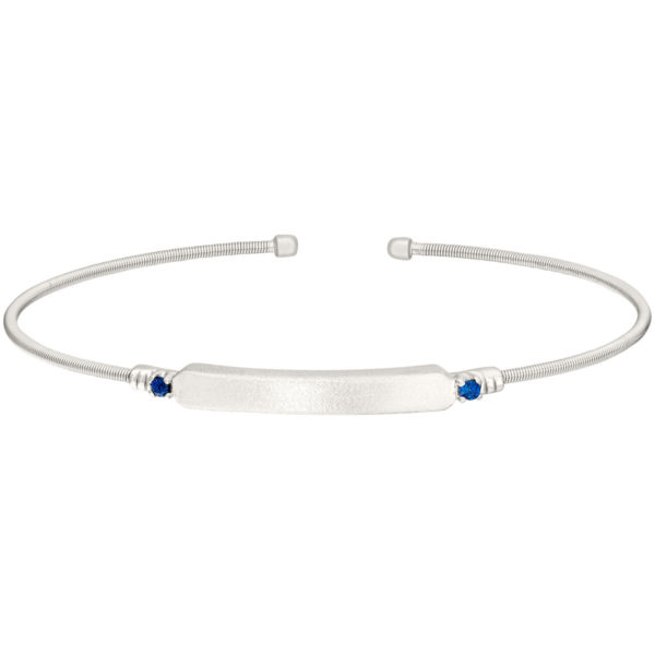 Rhodium Finish Sterling Silver Cable CuffNeustaedter's Fine Jewelry in St. Louis is now offering Bracelet with Name Plate and Simulated Blue Sapphire Birth Gems - September