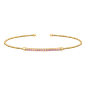Gold Finish Sterling Silver Cable Cuff Bracelet with Simulated Pink Sapphire Birth Gems - October