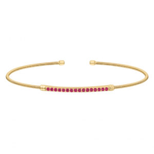 Gold Finish Sterling Silver Cable Cuff Bracelet with Simulated Ruby Birth Gems - July