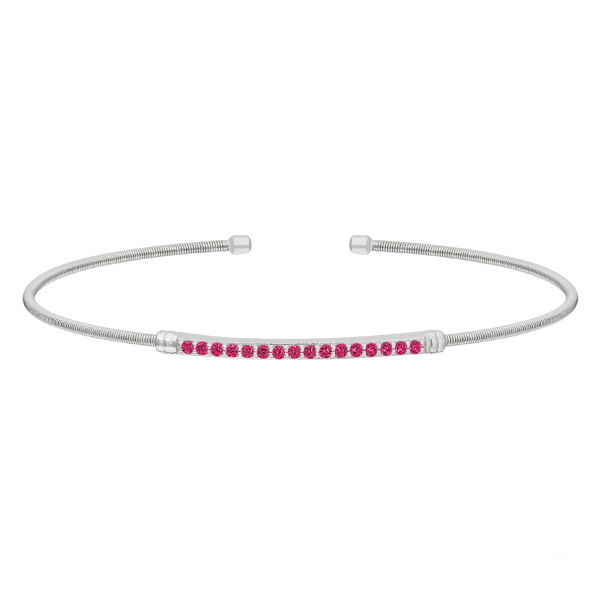 Rhodium Finish Sterling Silver Cable Cuff Bracelet with Simulated Ruby Birth Gems - July