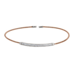 Rose Gold Finish Sterling Silver Single Cable Cuff Bracelet with Rhodium Finish Double Row Simulated Diamonds
