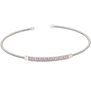 Rhodium Finish Sterling Silver Cable Cuff Bracelet with Three Rows of Simulated Pink Sapphire Birth Gems - October