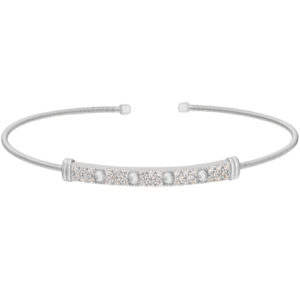 Rhodium Finish Sterling Silver Cable Cuff Bracelet with Four Beads & Simulated Diamonds
