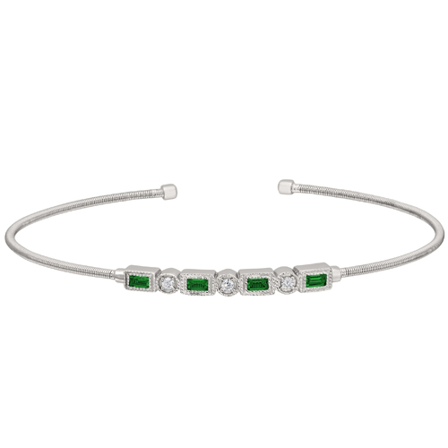 Rhodium Finish Sterling Silver Cable Cuff Bracelet with Simulated Emeralds and Simulated Diamonds