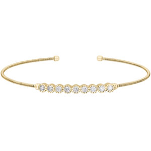Gold Finish Sterling Silver Cable Cuff Bracelet with Beaded Bezel Set Simulated Diamonds