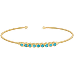 Gold Finish Sterling Silver Cable Cuff Bracelet with Beaded Bezel Set Simulated Turquoise